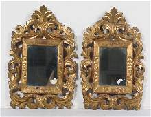 Pair of carved and gilded wooden cornucopias. 18th