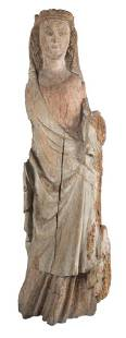Madonna and Child Walnut wood sculpture with