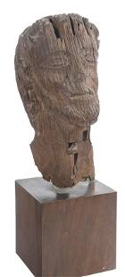 Head of Christ Carved wooden sculpture Romanesque