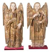 Angels. Pair of carved, gilded and polychromed wooden