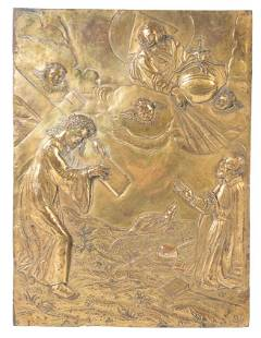 Gilded embossed and chased copper plaque 16th