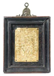 Annunciation Gilded embossed and chased copper