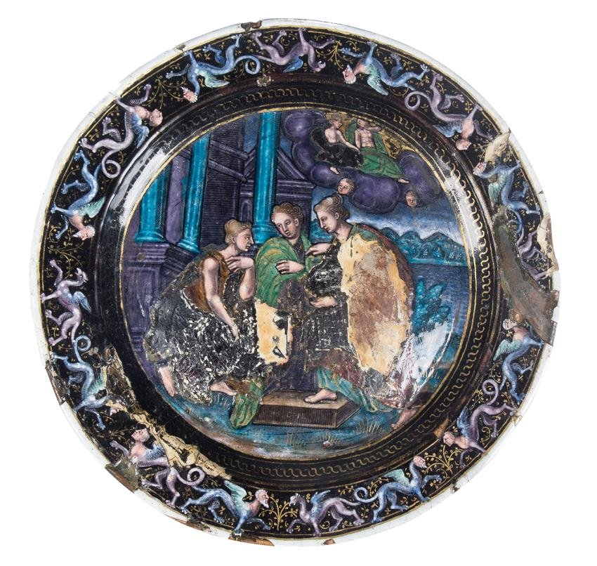 Copper plate painted in enamel. Limoges. France. 16th