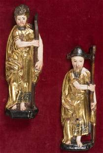 Saint Andrew and Saint James Pair of carved gilded