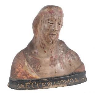 Ecce Homo Polychromed sized cloth sculpture Italy