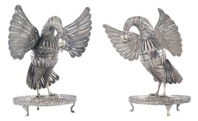 Peacocks.  Pair of chased silver filigree incense