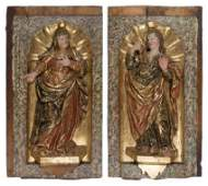 """Saint John and the Virgin Mary"". Pair of"