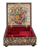 Important box in cedar wood, mother of pearl and