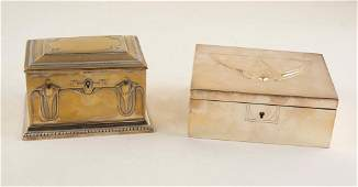 Pair of silvered metal boxes W252rttenbergische