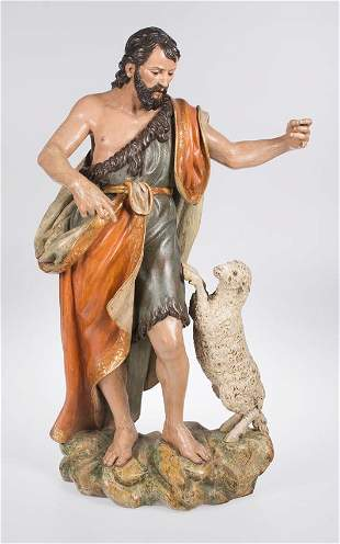 """Saint John the Baptist"". Polychromed and gilded carved"