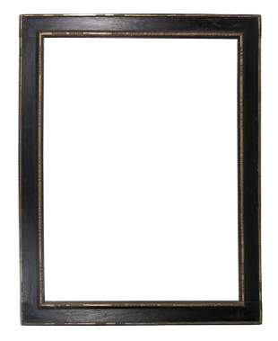 Carved, polychromed and gilded wooden frame. 17th