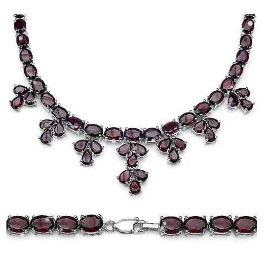 61.70Cts Garnet S/Silver Necklace