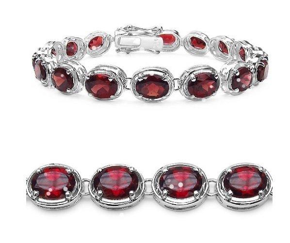 25.84Cts Garnet S/Silver Bracelet