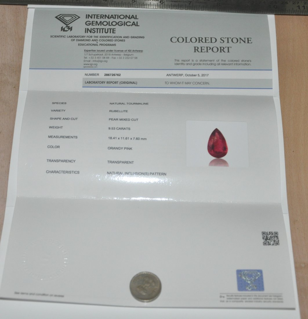 IGI Certified 9.53ct Natural Tourmaline