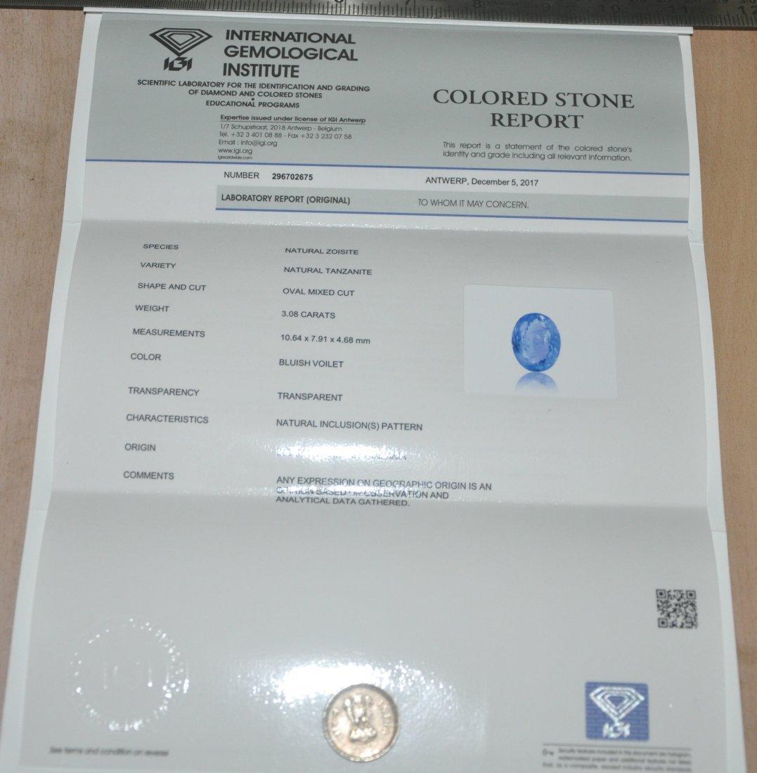 IGI certified 3.08ct Natural Tanzanite