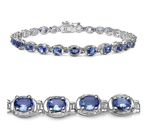 4.36Cts Tanzanite S/Silver Bracelet