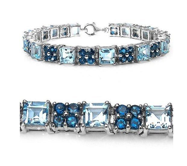 18.08Cts London Blue Topaz and Blue Topaz S/Silver Brac