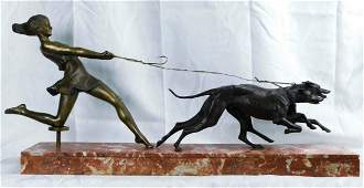 Woman with Greyhounds, Bronze W/ Marble Base.