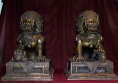 Pair - Large Antique Chinese Bronze Guardian Lion