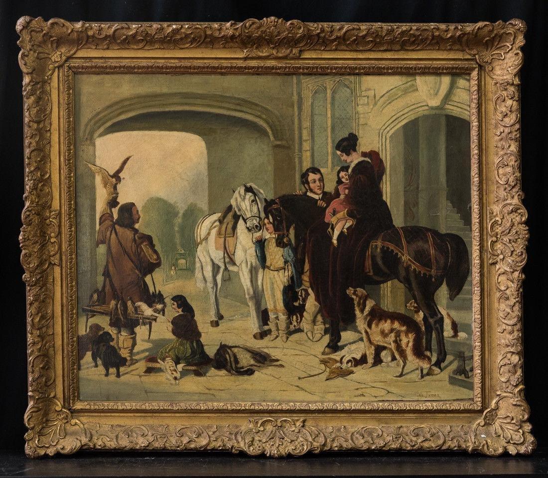 "Antique 19th Cent European Oil ""Courtyard Scene"""