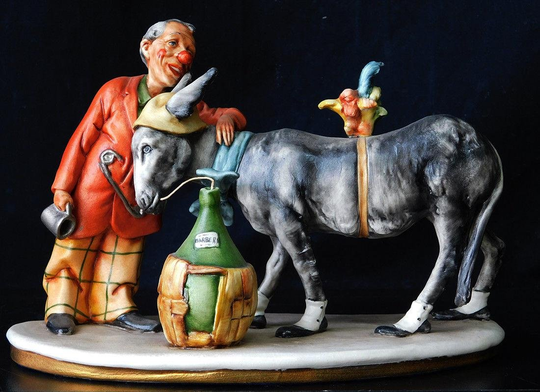 "Italian Porcelain Figurine ""Man With His Donkey"""