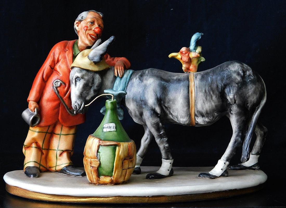 "Italian Porcelain Figurine ""Man With His Donkey"""