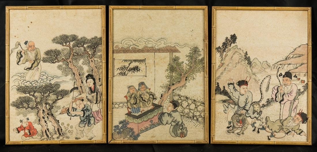 Set of 3 Antique Chinese Watercolor Paintings
