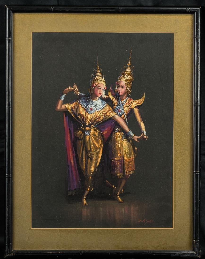 Thai Dancers, Gouache on Paper