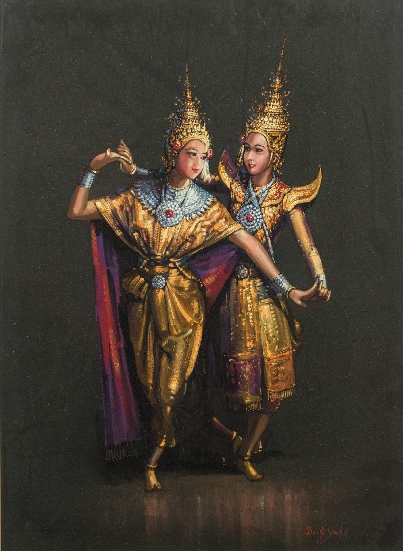 Thai Dancers, Gouache on Paper - 2