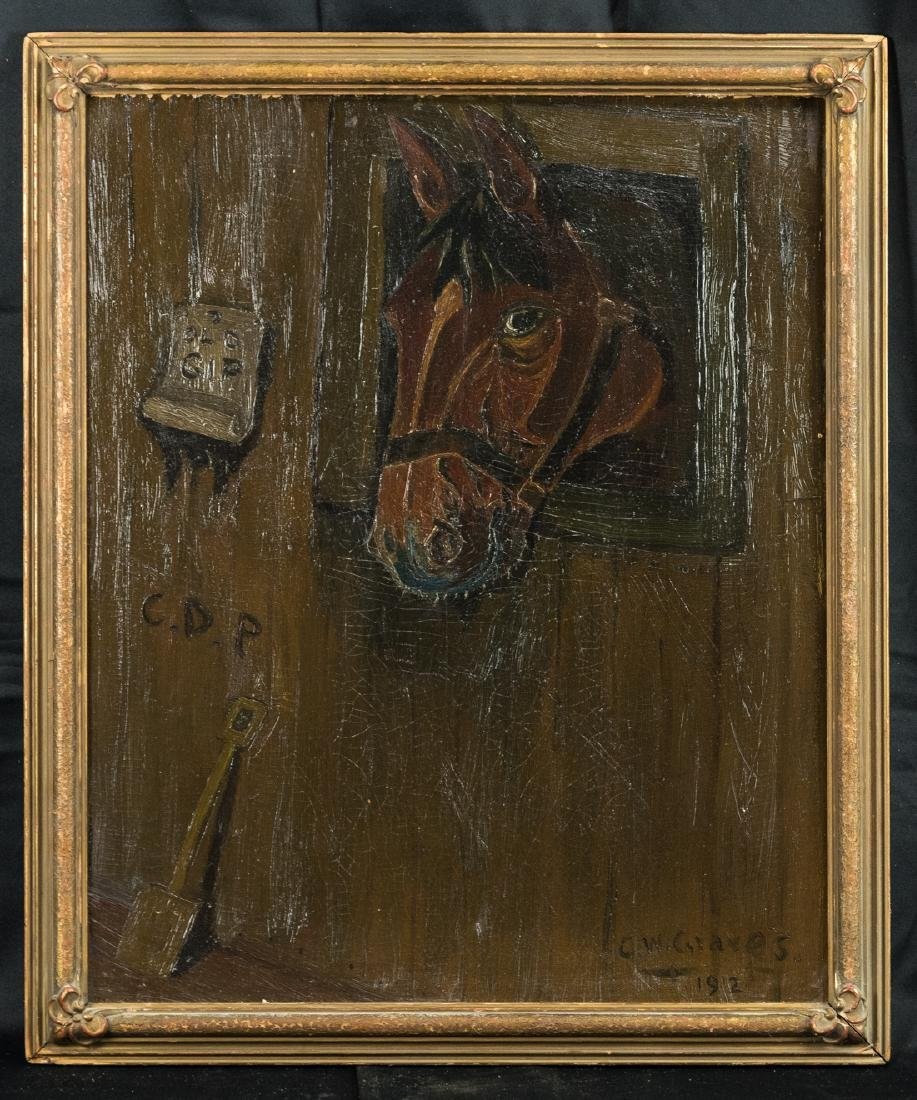 Horse Head, Oil Painting, Dated 1912