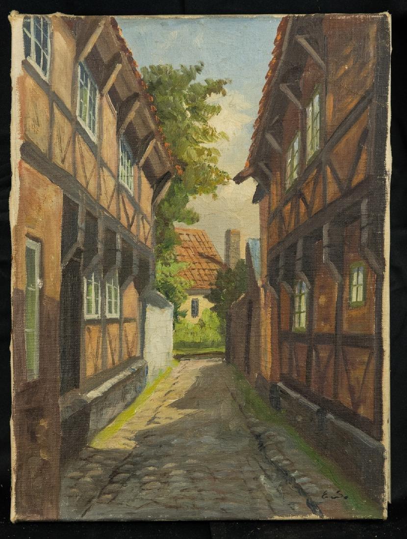 Town Scene, Oil on Canvas