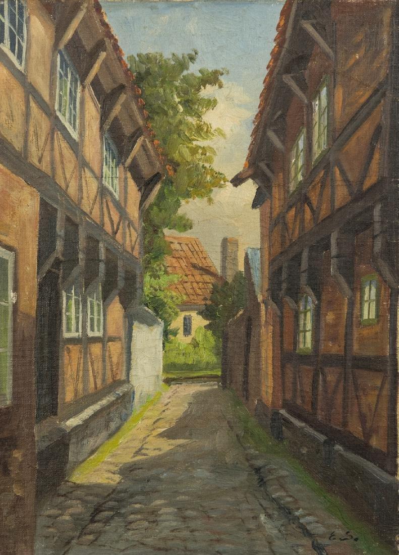 Town Scene, Oil on Canvas - 2
