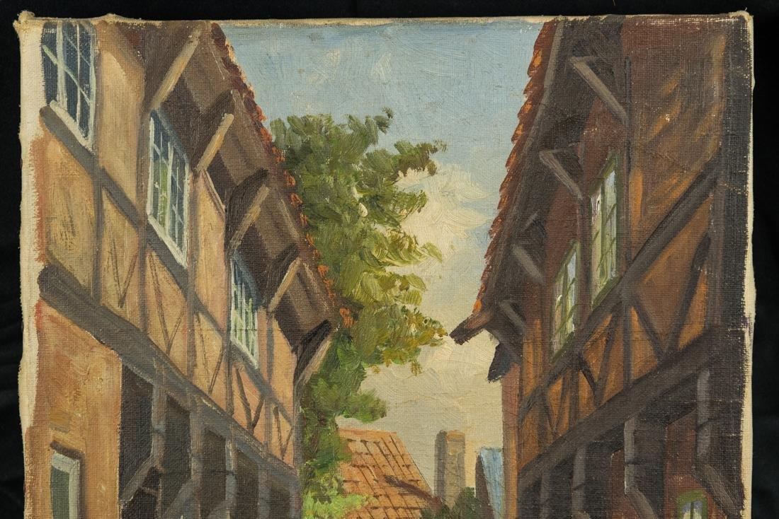 Town Scene, Oil on Canvas - 3