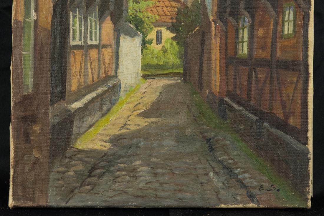Town Scene, Oil on Canvas - 4