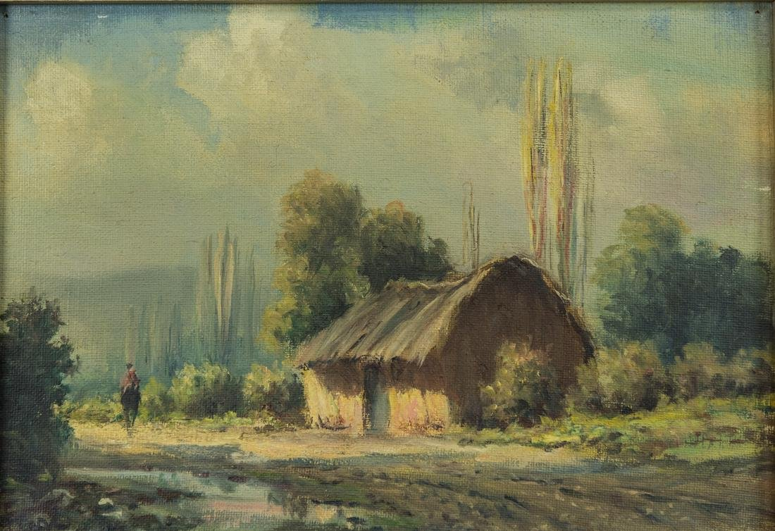 House by the Stream, Oil / Canvas. - 2