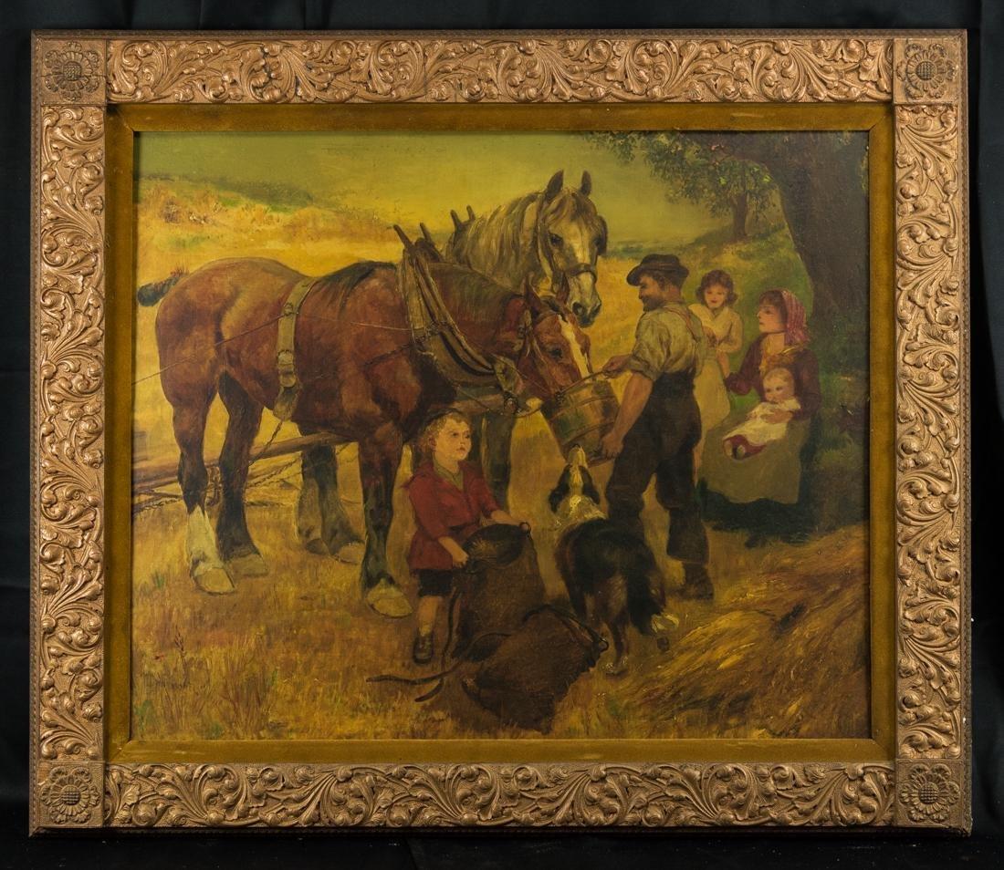 Oil Painting Family Feeding horse