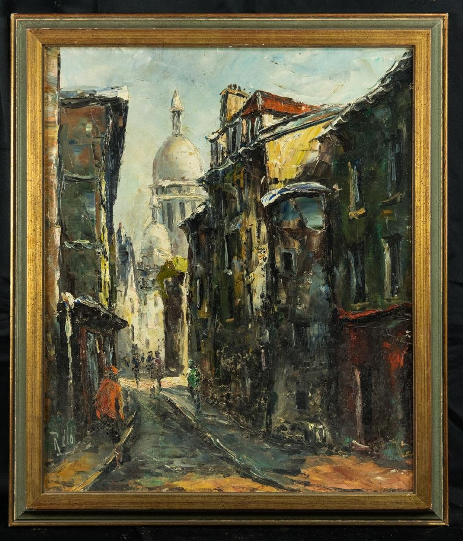 Vintage Eurpean City Scene Oil Painting