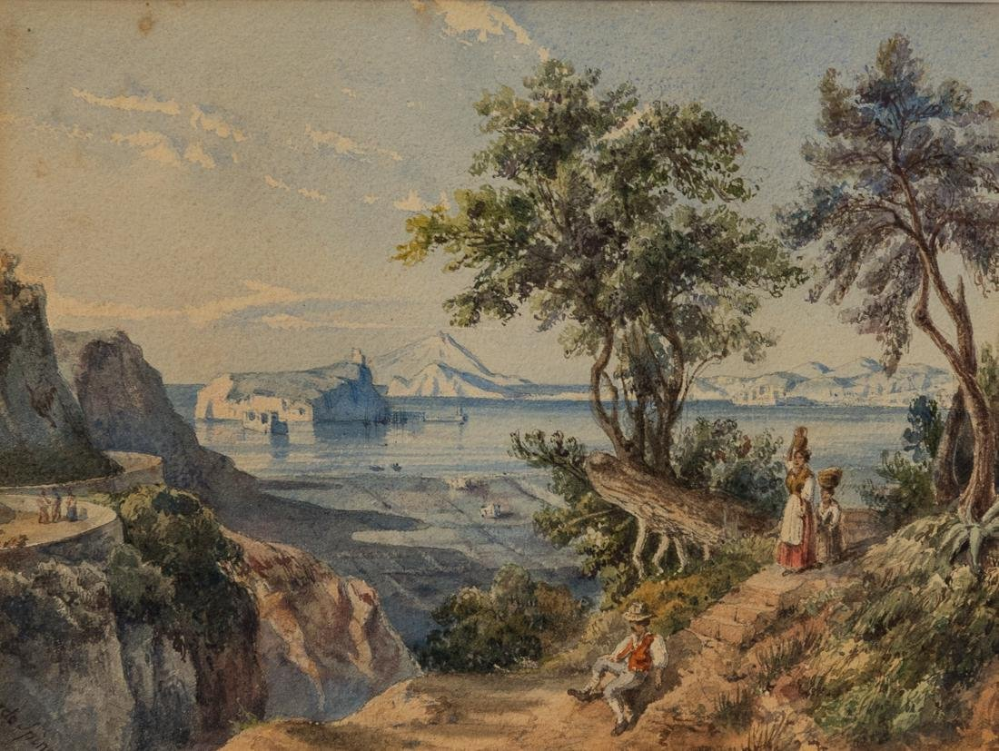 Antique Italian watercolor Mother and boy near lake - 2