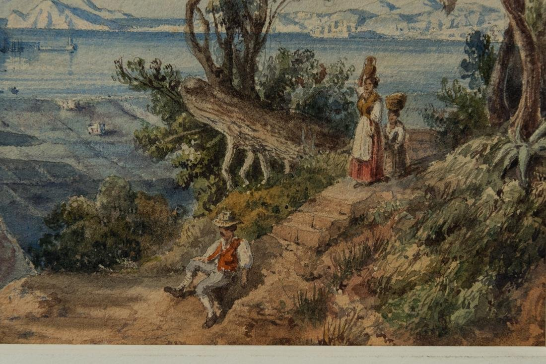 Antique Italian watercolor Mother and boy near lake - 8