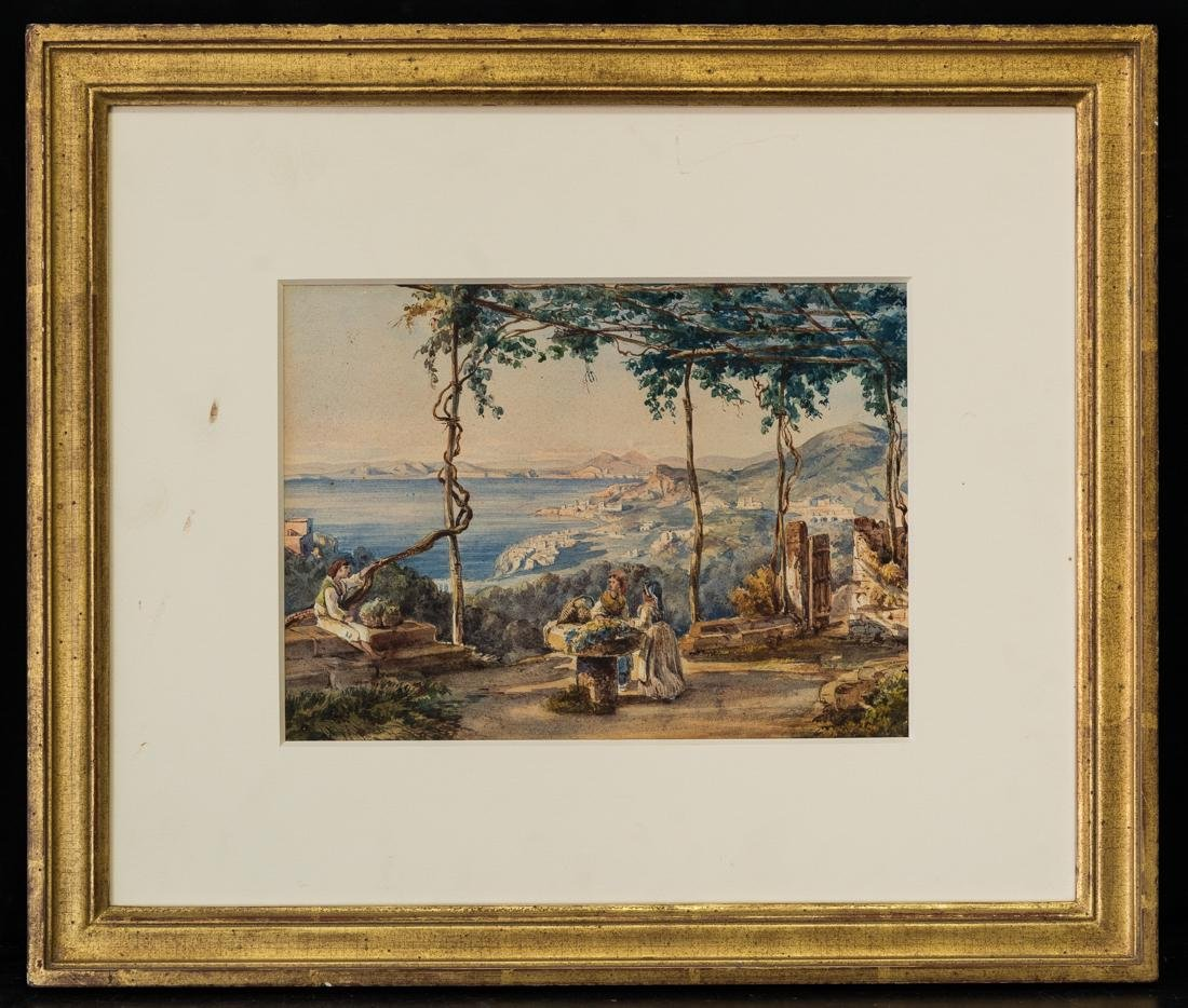Antique Italian Watercolor Ladies and a boy, Landscape
