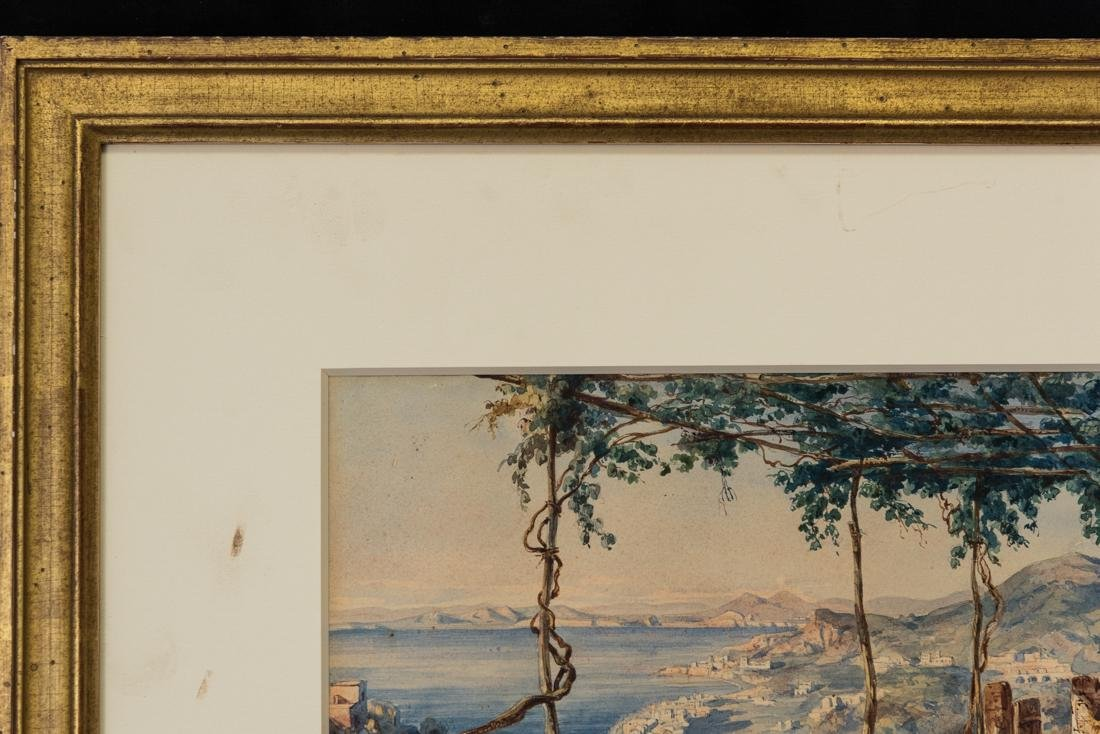 Antique Italian Watercolor Ladies and a boy, Landscape - 3