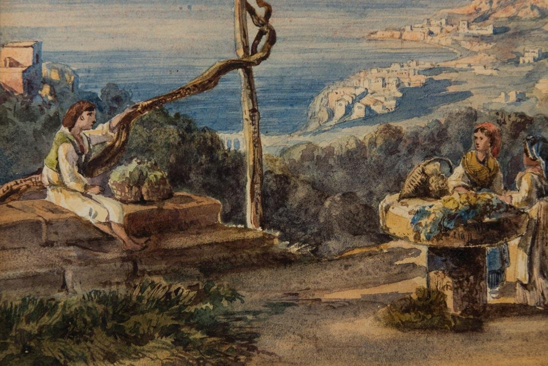 Antique Italian Watercolor Ladies and a boy, Landscape - 8