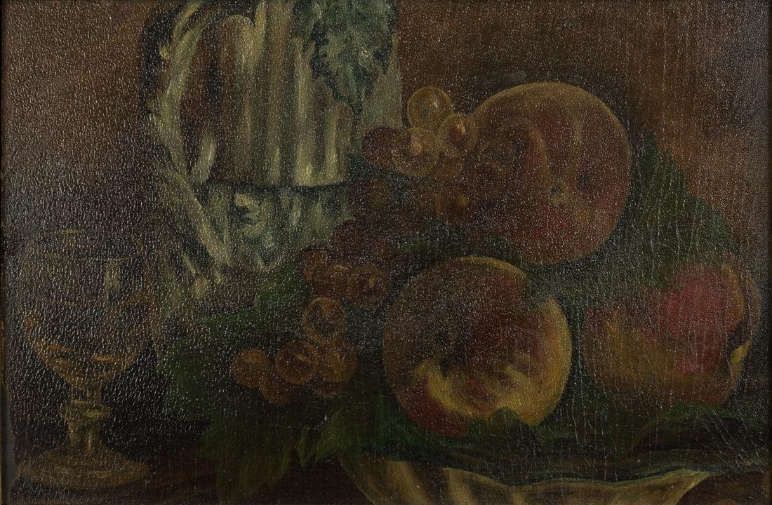 Still Life Peach and Grapes - 2