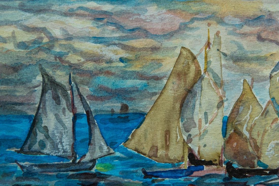Maurice B. Prendergast  (NY/FR 1858 - 1924) Mixed Media - 7