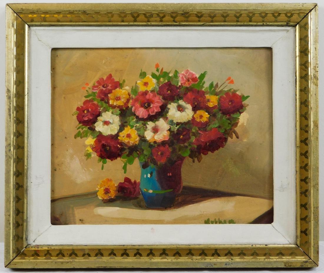 Flowers in Vase Painting Oil on Artist Board