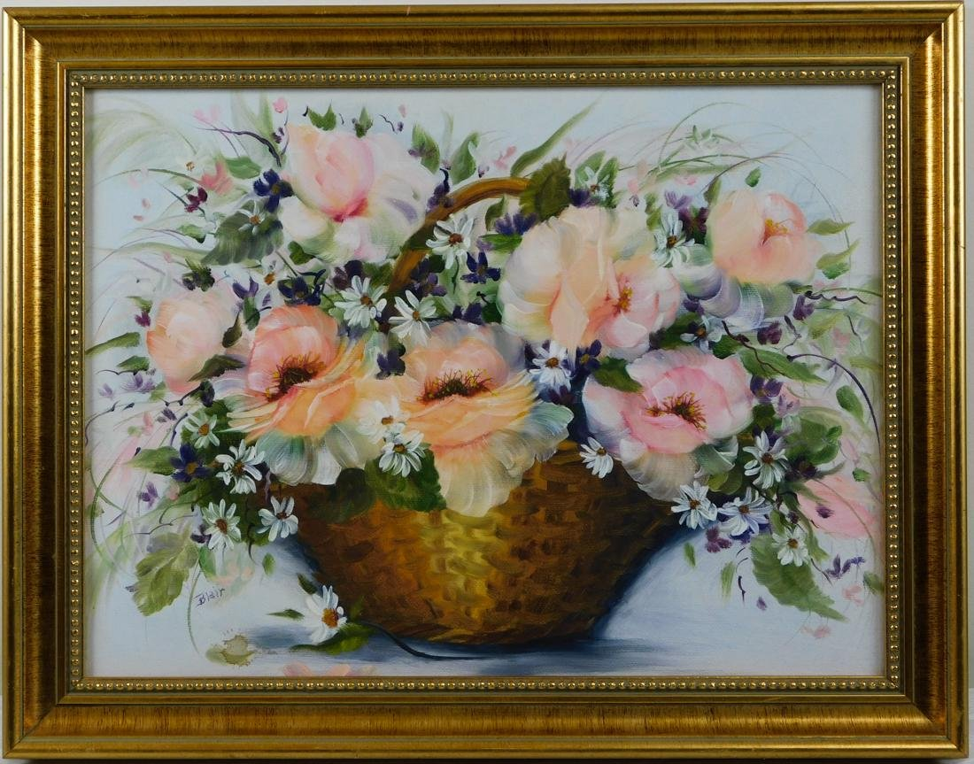 Flowers in a Basket Oil Painting on Canvas