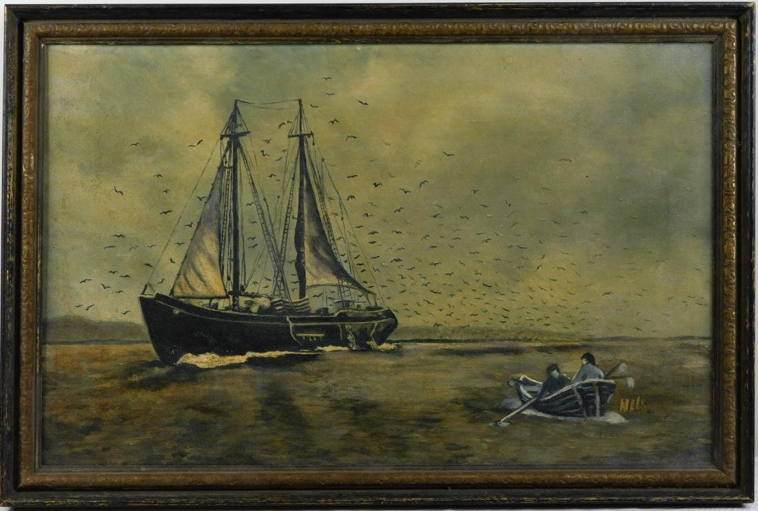 Antique Oil Painting Seascape with Sailboat