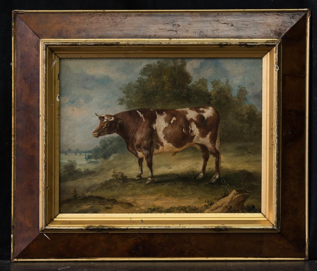Antique American Folk Art Cow Portrait Oil