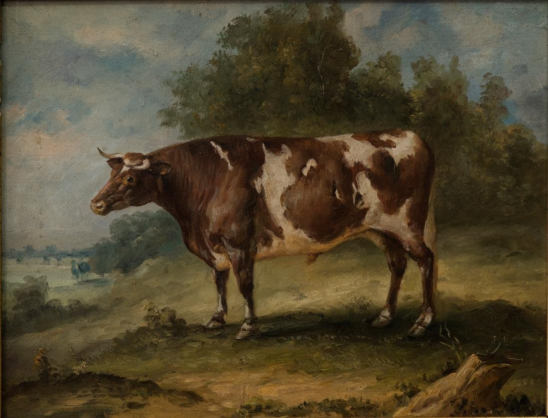 Antique American Folk Art Cow Portrait Oil - 2