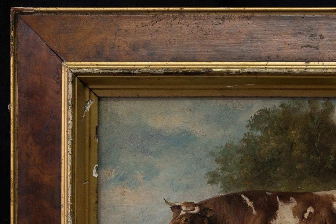 Antique American Folk Art Cow Portrait Oil - 3